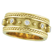 18K Yellow Gold Antique Style Bezel Set .18ct Diamond Ring