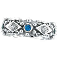 14K White Gold Antique Style Sapphire & .18ct Diamond Fashion Ring
