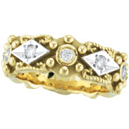 18K Yellow Gold Thick Antique Style .30ct Diamond Ring