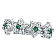 14K White Gold .48ct Diamond and Emerald Flower Ring