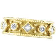 18K Yellow Gold Byzantine .41ct Diamond Band