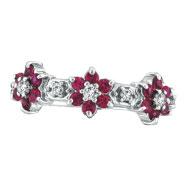 14K White Gold Pink Sapphire & .33ct Diamond Flower Eternity Ring