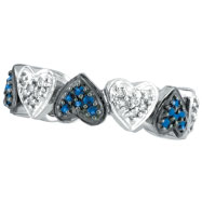 14K White Gold Blue Sapphire and .25ct Diamond Heart Eternity Ring