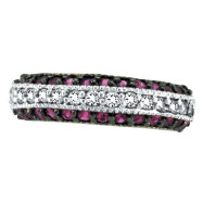 14K White Gold Pink Sapphire & .29ct Diamond Fashion 3-Tier Ring