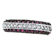 14K White Gold Pink Sapphire & .29ct Diamond Fashion 3-Tier Ring