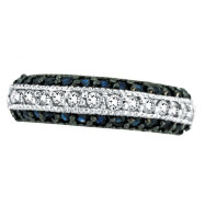 14K White Gold Blue Sapphire & .29ct Diamond Fashion 3-Tier Ring