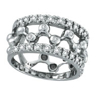 14K White Gold .61ct Diamond Thick Design Ring