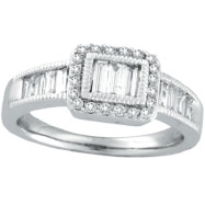 14K White Gold .75ct Baguette Diamond Detailed Ring