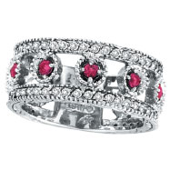 14K White Gold .30ct Pink Sapphire Eternity and .42ct Diamond Ring Band