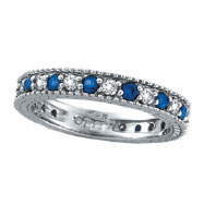 14K White Gold Thin .50ct Diamond and .58ct Sapphire Eternity Ring Band