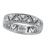 14K White Gold .75ct Diamond Prong Setting Eternity Ring Band