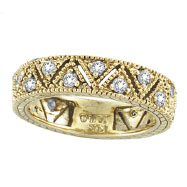 14K Yellow Gold .75ct Diamond Prong Setting Eternity Ring Band Eternity