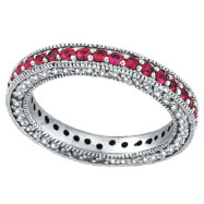 14K White Gold 3-Tier Pink .86ct Sapphire & .60ct Diamond Eternity Band Ring