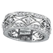 14K White Gold 1.0ct Diamond Antiqued Eternity Ring Band