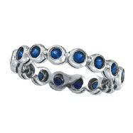 14K White Gold Bezel Set 1.12ct Sapphire Eternity Ring Band
