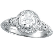 14K White Gold Antique Style 1.08ct Diamonds Around and .65ct Center Diamond Engagement Ring