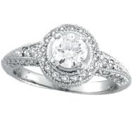 14K White Gold Antique Style 1.08ct Diamonds Around and .65ct Center Diamond Engagement Ring