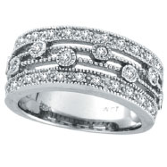 14K White Gold 3-Tier .53ct Diamond Ring Band