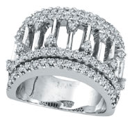 14K White Gold 1.86ct Diamond Bar-Design Ring
