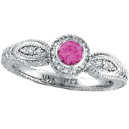14K White Gold .30ct Pink Sapphire With .14ct Diamond Bezel Ring