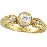 14K Yellow Gold Bezel Set .40ct Diamond Rustic-Style Ring
