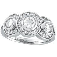 18K White Gold 1.76 Diamond Bezel 3 Large Stone Ring