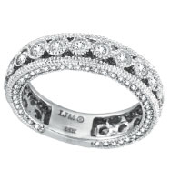 14K White Gold Three Sided Bezel Set 1.28ct Diamond Eternity Ring Band