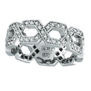 14K White Gold .75ct Diamond Open Hexagon-Shaped Eternity Ring