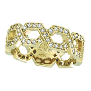 14K Yellow Gold .75ct Diamond Open Hexagonal-Shaped Eternity Ring