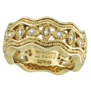 18K Yellow Gold Antique Style .22ct Diamond Zigzag Band Ring