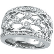 14K White Gold 1.0ct Diamond Right Hand Crossbar Ring