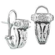 18K White Gold Antique-Style .59ct Diamond Scroll French-Style Post Earrings