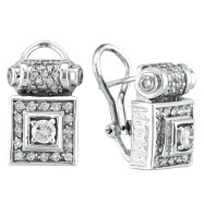 18K White Gold Antique-Style 1.5ct Diamond Scroll-Design French-Style Post Earrings