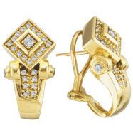 18K Yellow Gold Antique-Style .68ct Diamond French-Style Post Earrings