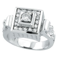 18K White Gold Antique Style Square Multiple-Tiered .50ct Diamond Ring
