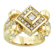 18K Yellow Gold Diamond-Shaped Antique Style .50ct Diamond Fashion Ring