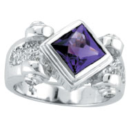 14K White Gold Diamond-Shaped 2.0ct Amethyst & .18ct Diamond Ring