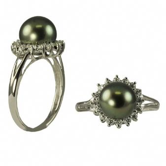14K White Gold 8-9mm Tahitian Pearl & Diamond Ring. Price: $1416.00