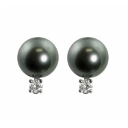 14K White Gold 10-11mm Tahitian Pearl & 0.30cttw Diamond Earrings
