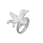 Sterling Silver Blooming Lily Flower Ring