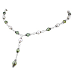 Sterling Silver Beaded Necklace with Cultured Freshwater White Pearl and Prehnite Beads
