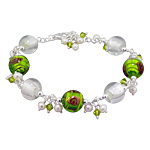Sterling Silver Bracelet with Green and Silver-White Murano Glass Beads with Genuine Pearl and Swaro