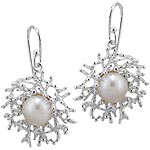 Sterling Silver Coral Reef Dangle Earrings with Genuine White Pearl