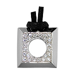 Sterling Silver Open Square Necklace with Pave CZ on Black Cotton Cord, Adjustable Length, Rhodium F