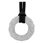 "Sterling Silver Scratch Finish Open Circle Necklace on 14-30"" Adjustable Brown Faux Suede Cord"