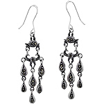 Sterling Silver Cascading Drops Chandelier Dangle Earrings with Marcasite