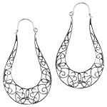 Sterling Silver Lace Design Oval Hoop Earrings