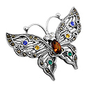 Sterling Silver Butterfly Brooch with CZ and Marcasite Stones