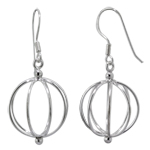 Sterling Silver Wire Beach Ball Dangle Earrings