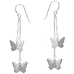 Sterling Silver Fluttering Butterfies Cascading Dangle Earrings